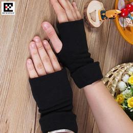 Baumwollhandschuhe ausstrecken online-Winter warme boygirl reines baumwollgewebe fingerlose handschuhe, stretch menwomen halbe fingerhandschuhe erweiterte hülse manschette fäustlinge