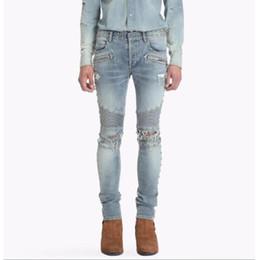Wholesale Hip Hop Jeans Brands - 2018 New Men's Distressed Ripped Biker Jeans Slim Fit Motorcycle Biker Denim For Men Brand Designer Hip Hop Mens cotton Jeans