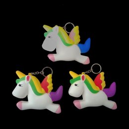 Wholesale Charms For Cellphones - PU Jumbo Squishies Flying Horse Unicorn Shape Squeeze Squishy Soft Stress Reliever Cellphone Charm For Kids Gift 6 5ck B