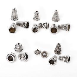 2019 cônes de perles 86 pcs / lot Collier Corde Conseils Antique Argent Plaqué Gravé Cone Perles Caps Caps Capsules Pour La Fabrication de Bijoux DIY Accessoires promotion cônes de perles
