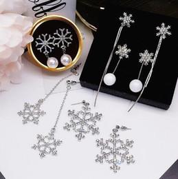 Wholesale Earrings Snowflake Long - The new 5 designs winter snowflake earrings rhinestone crystal pearl long snowflake tassel earrings free shipping