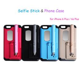Wholesale Monopod Case - Newest Selfie Stick Case for iPhone 6 Plus iPhone 6s Plus Extendable Convenient Monopod Kickstand Mobile Phone Protective Back Shell