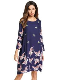 Весна новый стиль Женская мода шифоновое платье О-образным вырезом элегантный свободные печати платье птица печати платье MLXL2XL от