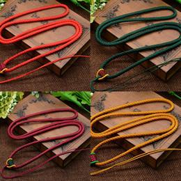 gargantillas de nylon Rebajas Gargantilla de cadena de cordón de nylon con cordón / collar de cadena para abalorios dzi tibetanos de 3,5 mm, longitud: aproximadamente 25 pulgadas, vendido por bolsa