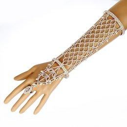 Wholesale Rhinestone Slave Bracelet Jewelry - Women Rhinestone Slave Bracelet With Ring Hand Chain Cuff Wedding Bridal Celebrity Trendy Belly Dancer Jewelry
