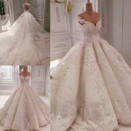 Wholesale empire luxury - Gorgeous Ball Gown Wedding Dresses 2018 Off The Shoulder Sequins Beads lace Wedding Dress Chapel Train Sheer Back Sexy Luxury Bridal Gowns