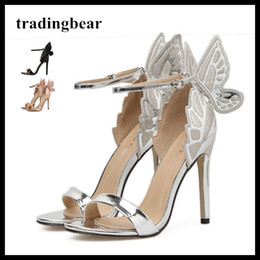 a872df9ebc0 silver prom shoes high heels Promo Codes - Sophia Big Butterfly One Strap  Open Toe High