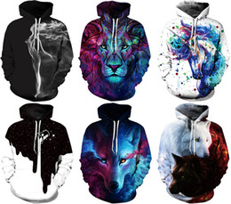 Wholesale Green Winter Coat Men - 2017 NWT Winter Autumn Fashion Men Sports Coat Pullover Hoodies Galaxy 3D Print Christmas Plus size Hooded with Hat Sweatshirts
