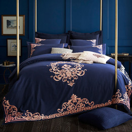 Wholesale Royal Blue Bedding - Embroidered Luxury Royal Bedding Set 60S Egyptian Cotton Silky 4 6pcs King Queen Size Boho Bed Set Duvet Cover Bed sheet
