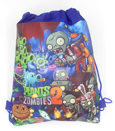 Wholesale plants vs zombies party - 6Pcs New Plants vs Zombies Drawstring Boys Girls Cartoon School Bag Children Printing School Backpacks for Birthday Party Gifts