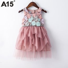 Wholesale Girls Party Dresses Year 12 - A15 Kids Girl Ball Gown Dress 2017 Toddler Girl Summer Lace Dress 6 8 10 12 Year Princess Birthday Party Dress Children Clothing