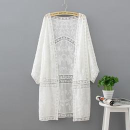 Argentina Bordado largo Kimono Tops de verano 2018 Moda Casual camisa blanca Ropa de mujer Batwing manga suelta blusa Kimono Cardigan supplier summer long kimonos Suministro