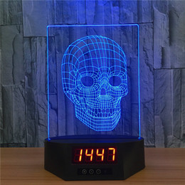 Wholesale Clock Plates - Long LED Base with Clock 7 RGB Lights IR Remote Slot for Acrylic Plate USB Powered Factory Wholesale 3D Skull night light
