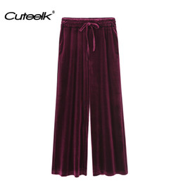 Wholesale Velvet Trousers Women - Cuteelk Womens Winter Velvet Drawstring Pants Ladies Fashion Solid Vintage Elastic Waist Loose Trousers Female Sexy Sweatpants