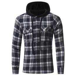 ecb6b2284803b Vogue Teenager Nice New Autumn Plus Size 3XL Hat Plaid Shirt Men Hooded  Cotton Shirt Punk Hip Hop Out Cap Casual Shirts Tops