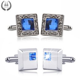 twin gifts Coupons - Luxury Blue Crystal White Rhinestones Squares Cufflinks For Mens Shirt Jewelry Trendy Geometric Twins Cufflinks Buttons Gifts 10pairs