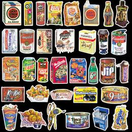 2019 etiquetas do alimento 37 pçs / lote Paródia Embalagem de Alimentos Adesivos para Skate Laptop Bagagem Frigorífico Telefone Car-Styling Etiqueta Do Carro Americano