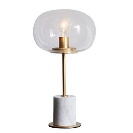 Wholesale modern reading glasses - Post modern marble table lamps gold metal desk light living room bedroom Iron art glass lampshade home reading decoration light