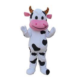 Costume della mascotte della mucca da latte online-Caldo nuovo di alta qualità PROFESSIONAL FARM DAIRY COW costume della mascotte del fumetto del vestito operato