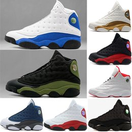 Wholesale Cats Shoes Woman - New 2018 men women Basketball Shoes 13 XIII Black Cat Hyper Royal Olive DMP Chicago Bred He Got Game Barons Sneakers Size 36-47