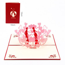 Wholesale Hot Love Cards - Valentine Day Greeting Cards Love Wedding Decorations 3D Inviting Card Party Supplies Hot Sale 4 63ld C R