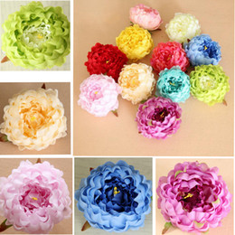 Wholesale Bouquets Peonies - 13cm Craft Fake Bouquet Silk Peony 14 Colors Artificial Real Touch Flowers Wedding Home Party Decor Silk Flowers EEA397 500PCS