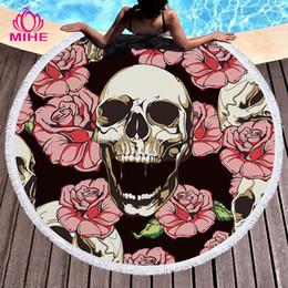 mantas frescas Rebajas MIHE Sugar Skull Toalla de playa redonda Borla floral Estera de yoga Estera redonda Macrame Toalla de enfriamiento de playa Microfibra