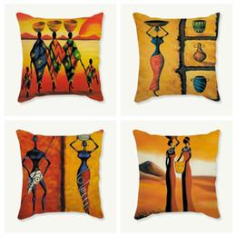 Deutschland Afrikanischen Stil Sitzkissen Sofa Wohnkultur afrikanische Frauen drucken dekorative Kissen Wurfkissen 45x45 cm Raumdekoration cheap african print cushions Versorgung
