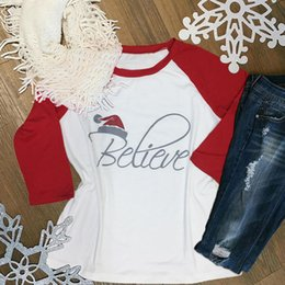 2019 weihnachten frauen mode t-shirt Cute Christmas Frauen T-Shirt Hut glauben gedruckt Spleißen T-Shirt Casual O-Neck Weiß weibliches T-Shirt Mode Damen Tops Tee günstig weihnachten frauen mode t-shirt