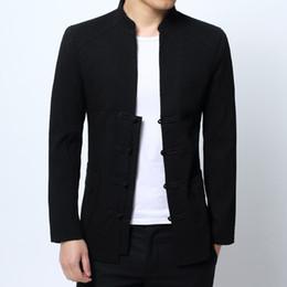Hebillas de porcelana online-2018 nueva chaqueta de estilo chino hombres Tang juego de chaqueta de hebilla de color sólido de manga larga cuello delgado