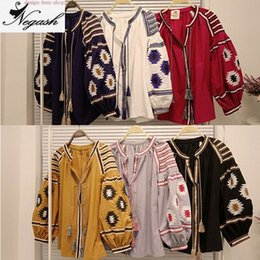 Wholesale Mori Plus Size - plus size Shirts Mori Girl Spring Summer new national wind retro lantern sleeve loose Design cotton embroidered tassel shirt Top