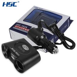 Dupla usb isqueiro do cigarro on-line-Hsc prático 120 w dupla soquetes de isqueiro adaptador rápido carregador de carro dupla interface usb para telefones inteligentes