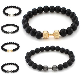 Wholesale Gold Beads For Bracelets - 2018 Black Lava Beads Silver Gold Dumbell Bracelets Natural Stone Buddha Bracelet Bangle Cuffs for Women Yoga Jewelry 162427