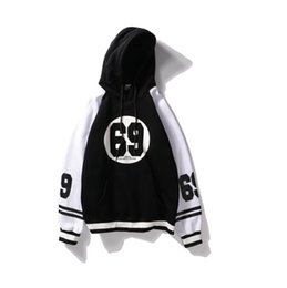 Wholesale Color 69 - New Patchwork Long Sleeve 2 Colors Man's Hooded Hoodie Number 69 Men And Women Hip-hop Outerwear
