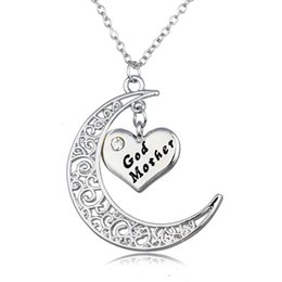 Wholesale God Hearts - Crystal Heart Shape Silver Necklaces God Mother Grandma Happy Birthday Bride Thanks For Coming Family Choker Pendant Necklaces For Men Women