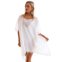 Canada 2018 Nouvel été Femmes Noir Pom Pom Tassel Hem Gaze Cover Up Kaftan Sexy Lâche Beachwear Beach Dress supplier beachwear black cover up Offre