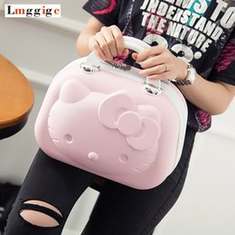 Wholesale Gift Suitcases - Hello Kitty Cosmetic Bag Cartoon Travel Suitcase Portable Women Handbag Lovely Cosmetic Case makeup box Children's gift