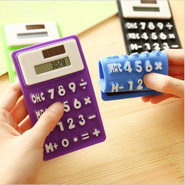 Wholesale calendar solar - Mini Calculator Foldable Silicone Calculator Solar Energy Candycolor Creative Magnetic Student Card Calculadora School Office Use Tool