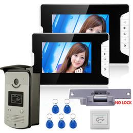 """Porta telefônica porta elétrica on-line-7 """"sistema video do intercomunicador do telefone da porta da cor com 2 monitor 1 câmera 1000TVL da campainha do RFID HD + fechamento elétrico da greve"""