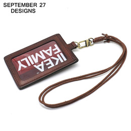 Wholesale Leather Id Card Badge Holder - Badge Holder Top layer leather Retractable Lanyard Identity name Student card case Credit Bank Neck Strap Card Bus ID Holders