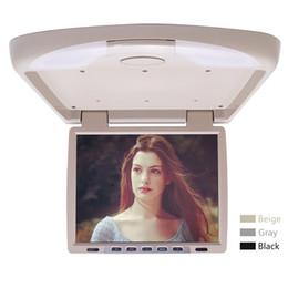 "2019 auto armaturenbrett tvs Auto Video DC12V 14.1 ""Zoll Auto / Bus TFT LCD Dach Montiert Monitor Flip Down Monitor 2-Wege Video Eingang 3-Color # 1290"