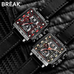 Wholesale vintage square mens watches - Fashion Vintage Square Chronograph Sport Mens Watches Top Brand Luxury Waterproof Quartz Watch Clock erkek kol saati