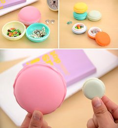 Wholesale Plastic Boxes For Earrings - Authentic Sweet Macarons Shaped Storage Box Easy To Carry Candy Color For Jewelry Earring Storage Box Wholesale Household Supplies Free Ship