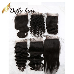 Wholesale Free Color Samples - Bella Hair® Retail Sample 8A Human Hair Closure 4*4 Straight Body Wave Loose Deep Curly Water Wave Natural Wave 8-26inch Top Lace Closures