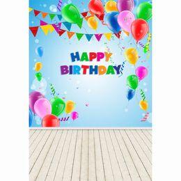 Wholesale Custom Children Vinyl - Laeacco Happy Birthday Balloons Flags Wooden Floor Baby Children Photography Backgrounds Vinyl Custom Backdrops For Photo Studio