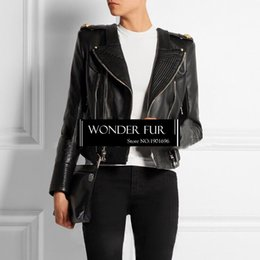 2019 jaqueta de couro cintura Design exclusivo jaqueta de couro real para as mulheres jaqueta de couro genuíno processo requintado casaco de pele de carneiro com cinto ajustável jaqueta de couro cintura barato