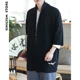 Argentina Sinicism Store Hombres Trench Coat 2018 Hombres Crane Embroidery Kimono Black Cardigan Hombre Harjuku Winter Long Coat Clothes Plus Size supplier xl mens kimonos Suministro