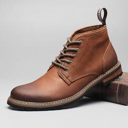 Vendita calda Inghilterra Style Genuine Leather Uomo Retro Martin Boots di alta qualità Kaki Lace-up casual bassa stivali appartamenti da pizzo khaki fornitori