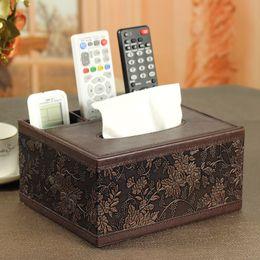 Wholesale Dual Pump - Colorful fashion PU leather tissue box multifunctional dual-use paper pumping box desktop remote control storage