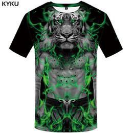 Wholesale T Shirt Plus Size Tiger - KYKU Tiger T shirt People Clothing Animal T-shirt Flame shirts Clothes Plus Size Men Mens Big Punk Japanese